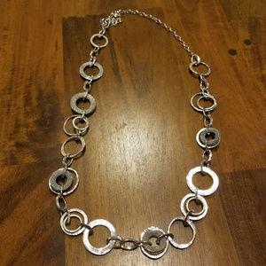 NWOT LOFT Silver Hoop Loop Necklace